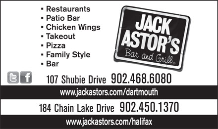 Jack Astor's (902-468-6080) - Display Ad