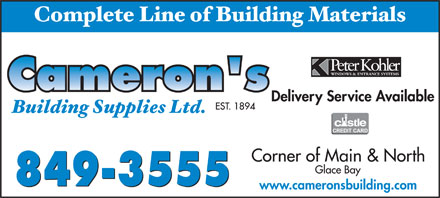 Cameron's Building Supplies Ltd (902-849-3555) - Annonce illustr&eacute;e - www.cameronsbuilding.com