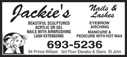 Jackie's Nails & Lashes (506-693-5236) - Annonce illustrée - LASH EXTENSIONS 94 Prince William   3rd Floor Elevator & Stairs  St John
