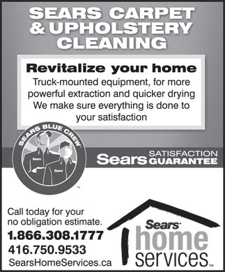 Sears Carpet & Upholstery Cleaning (416-750-9533) - Annonce illustrée