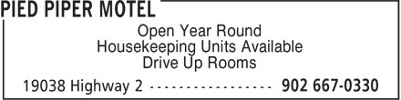 Pied Piper Motel (1-855-202-6818) - Display Ad - Open Year Round Housekeeping Units Available Drive Up Rooms  Open Year Round Housekeeping Units Available Drive Up Rooms