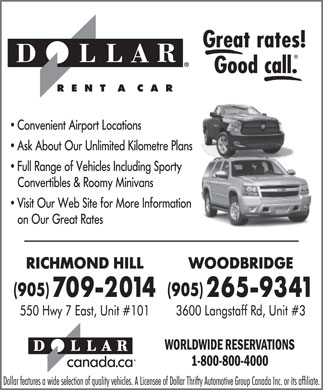 Dollar Rent A Car (905-709-2014) - Annonce illustr&eacute;e