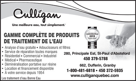 Traitement d'Eau St-Paul Inc (450-379-5788) - Display Ad