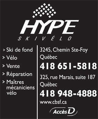 Centre Du Bicycle Ste-Foy et Hype Ski Vélo (418-651-5818) - Display Ad