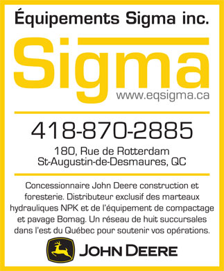 Equipements Sigma Inc (418-870-2885) - Display Ad