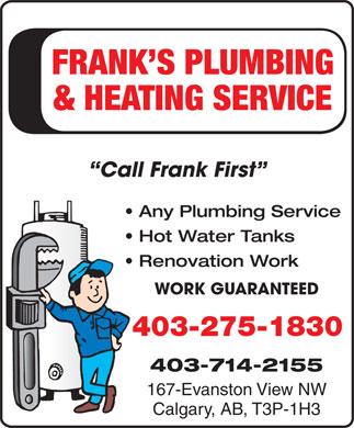 Frank S Plumbing Heating Ltd In Calgary Yellowpages Ca