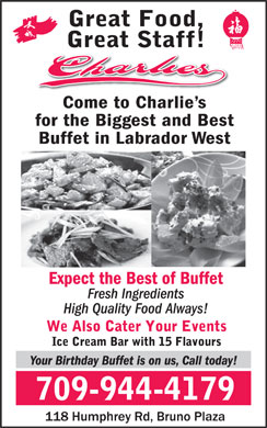 Charlie's Restaurant (709-944-4179) - Display Ad