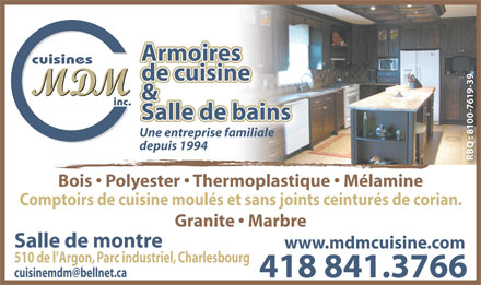 Cuisines mdm inc 510 rue de l 39 argon qu bec qc - Armoires polyester vs thermoplastique ...