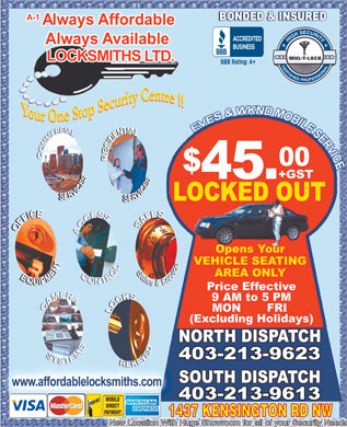 Always Affordable Always Available Locksmiths Ltd (403-213-9116) - Annonce illustr&eacute;e - 1437 KENSINGTON RD NW