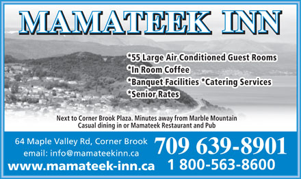 Mamateek Inn (709-639-8901) - Display Ad