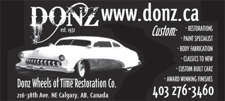 Donz' Wheels Of Time Restoration (403-276-3460) - Display Ad