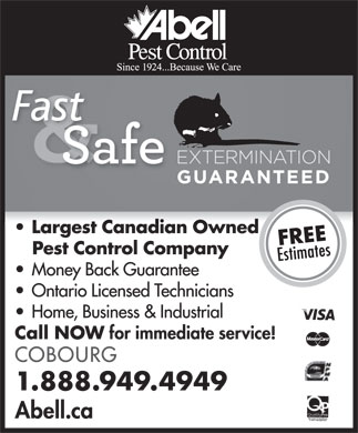Abell Pest Control (1-888-949-4949) - Display Ad