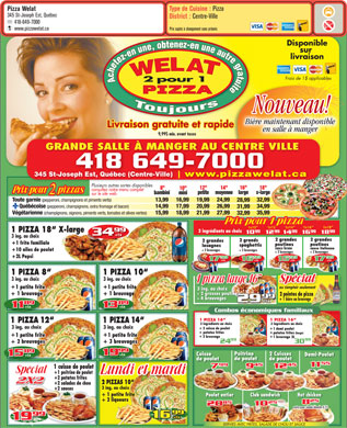 Pizza Welat (418-649-7000) - Menu