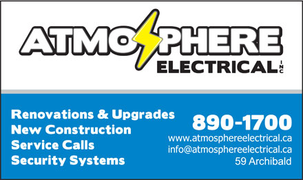 Atmosphere Electrical Inc (902-890-1700) - Display Ad