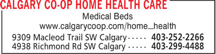 Calgary Co-op Home Health Care (403-252-2266) - Display Ad - Medical Beds www.calgarycoop.com/home_health