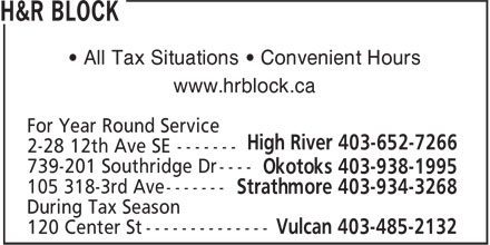 H&R Block (403-652-7266) - Display Ad - • All Tax Situations • Convenient Hours www.hrblock.ca