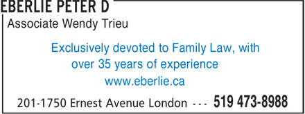 Eberlie Peter D (226-270-1181) - Annonce illustrée - Associate Wendy Trieu Exclusively devoted to Family Law, with over 35 years of experience www.eberlie.ca
