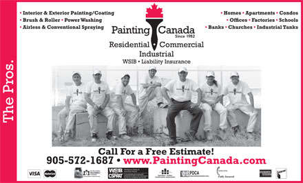 Painting Canada (289-975-4299) - Annonce illustr&eacute;e - NSURANCE CENTRAL PDCA Fully Insured