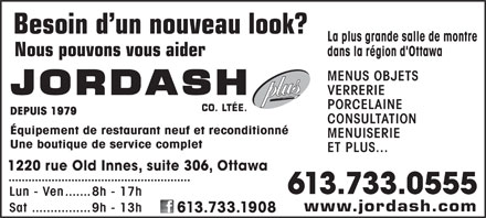 Jordash Co Ltd (613-733-0555) - Display Ad