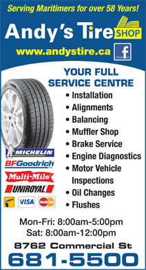 Andys Tire Shop (902-681-5500) - Display Ad