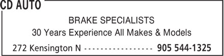 Cd Auto (289-975-4236) - Display Ad - BRAKE SPECIALISTS 30 Years Experience All Makes & Models