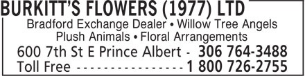 Burkitt's Flowers (1977) Ltd (306-764-3488) - Annonce illustrée - Bradford Exchange Dealer ¿ Willow Tree Angels Plush Animals ¿ Floral Arrangements