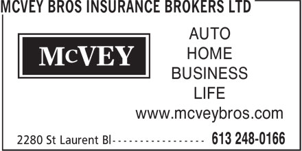 McVey Bros Insurance Brokers Ltd (613-248-0166) - Display Ad - AUTO HOME BUSINESS LIFE www.mcveybros.com
