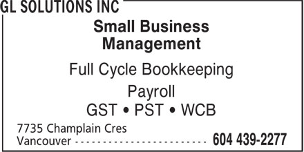 Gl Business Solutions Inc (604-439-2277) - Annonce illustrée - Small Business Management Full Cycle Bookkeeping Payroll GST ¿ PST ¿ WCB