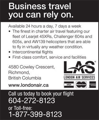 London Air Services Ltd (604-272-8123) - Annonce illustrée