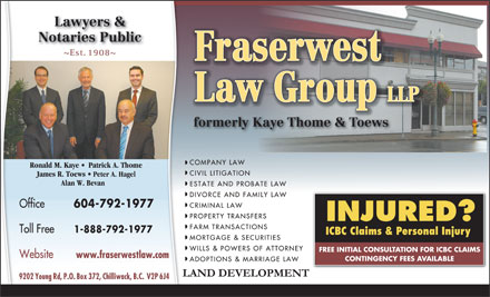 Fraserwest Law Group (604-702-5177) - Display Ad - www.fraserwestlaw.com Peter A. Hagel