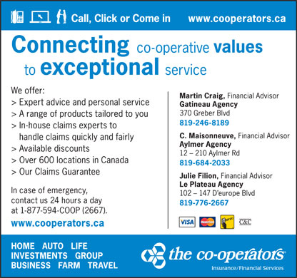 Co-operators Insurance/Financial Services (1-877-594-2667) - Annonce illustrée