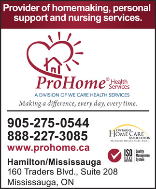 Pro Home Health Services (905-275-0544) - Display Ad