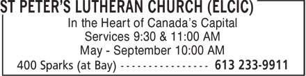 St Peter's Lutheran Church (ELCIC) (613-233-9911) - Annonce illustrée - In the Heart of Canada's Capital Services 9:30 & 11:00 AM May - September 10:00 AM