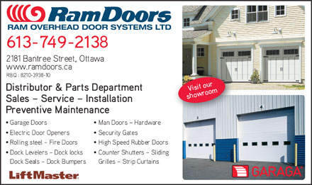 Ram Overhead Door Systems Ltd (613-699-2304) - Annonce illustrée - RAM OVERHEAD DOOR SYSTEMS LTD