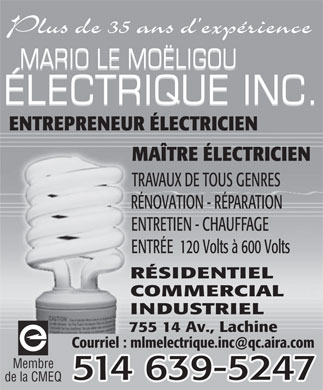 Mario Le Moëligou Electrique Inc (514-639-5247) - Display Ad
