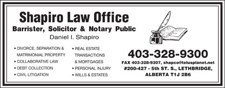 Shapiro Law Office (403-328-9300) - Annonce illustrée