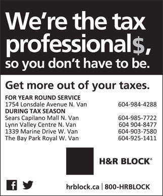 H&amp;R Block (604-984-4288) - Display Ad