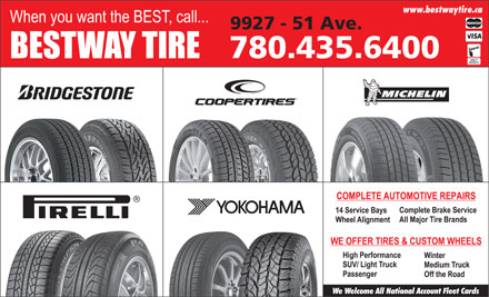 Bestway Tire Ltd (780-613-0210) - Display Ad - www.bestwaytire.ca