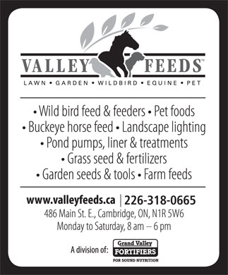 Valley Feeds (Div of Grand Valley Fortifiers) (519-621-5204) - Annonce illustr&eacute;e - 226-318-0665 226-318-0665