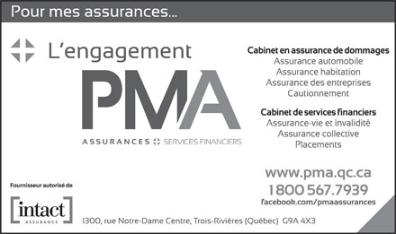 Assurance PMA inc (1-800-567-7939) - Annonce illustr&eacute;e