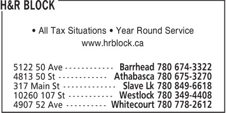 H&R Block (780-674-3322) - Display Ad - • All Tax Situations • Year Round Service www.hrblock.ca