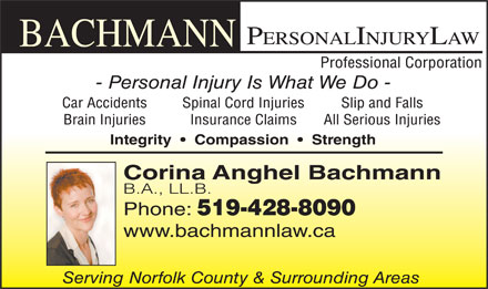 Bachmann Personal Injury Law (519-428-8090) - Annonce illustrée