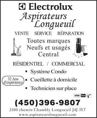 aspirateurs longueuil 450 396 9807 annonce illustr e longueuil vente service r paration. Black Bedroom Furniture Sets. Home Design Ideas