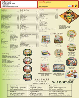 One More Sushi (250-597-0077) - Menu
