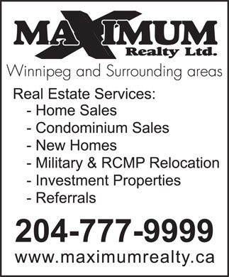 Maximum Realty Ltd (204-777-9999) - Display Ad