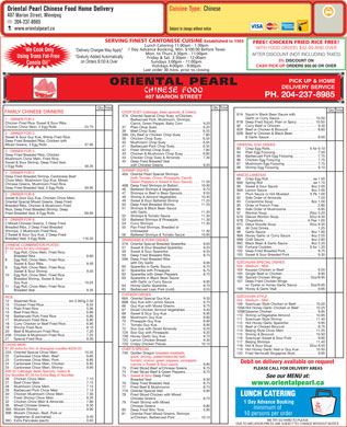 Oriental Pearl Chinese Food (204-237-8985) - Menu