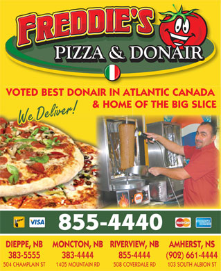 Freddie's Pizza & Donair (506-855-4440) - Display Ad