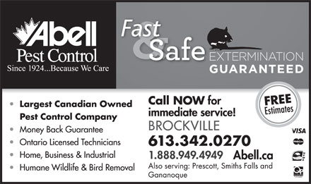 Abell Pest Control (613-342-0270) - Display Ad