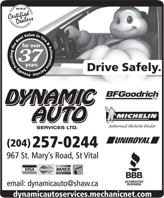Dynamic Auto Services Ltd-Authorized Michelin Dealer (204-257-0244) - Display Ad