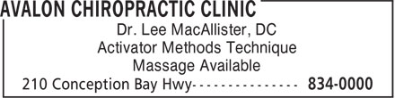 Avalon Chiropractic Clinic (709-834-0000) - Annonce illustrée - Activator Methods Technique Massage Available Dr. Lee MacAllister, DC